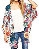 Relipop Women's Sheer Chiffon Blouse Loose Tops Kimono Floral Print Cardigan (XX-Large, Colorful)