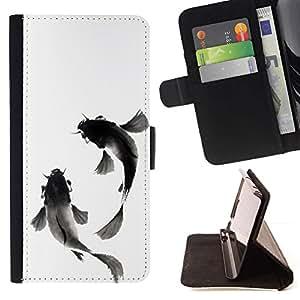 Momo Phone Case / Flip Funda de Cuero Case Cover - Acuarela de los pescados minimalista mascotas - Samsung ALPHA G850