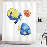 Tropical Fish Fabric Shower Curtain Ambesonne Fish Shower Curtain, Tropical Aquarium Life Discus Fish and Goldfish in Different Patterns, Cloth Fabric Bathroom Decor Set with Hooks, 70 inches, Azure Blue