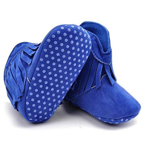 Estamico Soft Sole zapatos de bebé niña de alta botas con flecos rojo rosso Talla:12-18 meses Azul