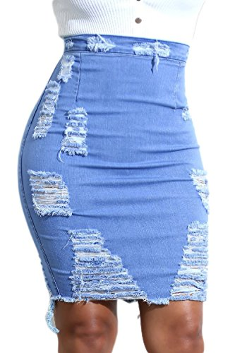 Simgahuva Womens Denim Skirt Ripped High Waist Bodycon for sale  Delivered anywhere in Canada