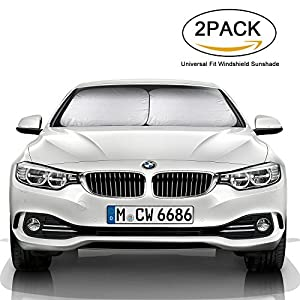AutoNmore Windshield Sun Shade, Universal Fit Sunshades for Car Suv Truck Minivan UV Protector Cover Shields Auto Front Window Keeps Cool Fits Various Vehicles