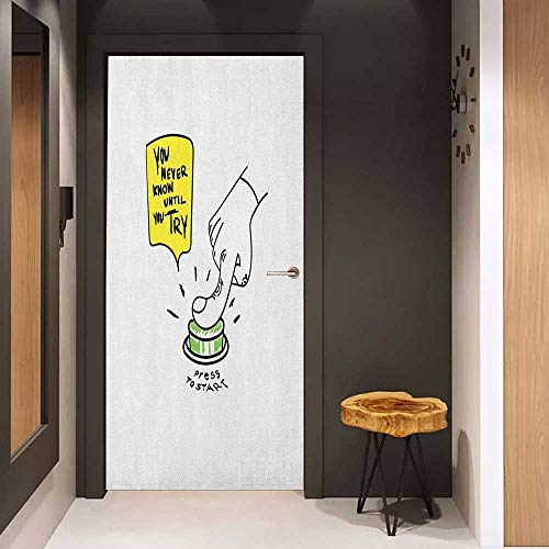 (Onefzc Automatic Door Sticker Motivational Hand Sketch Pushing Start Button You Never Know Until You Try Doodle Easy-to-Clean, Durable W35.4 x H78.7 Yellow Green Black )