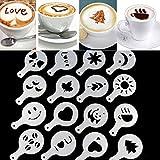 ZHUOTOP 16Pcs Coffee Machine Template Strew Pad Duster Print Barista Stencils Mold Cute