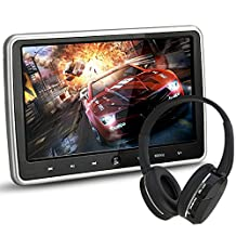 LOSKA 10.1 Inch Digital HD TFT LCD Wide Screen Ultra Thin Headrest Portable Car DVD Player Multimedia Wireless Player HDMI Monitor with Remote Control and IR Headphone