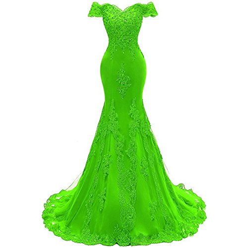 Women's V Neckline Off-Shouler Beaded Mermaid Evening Gowns Lace Prom Dresses Lime Green