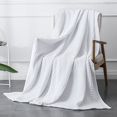 PHF Cotton Waffle Weave Blanket Home Decorations for All Season Cozy Soft Comfort Queen Size White