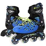 Hufcor Inline Indoor/Outdoor Adjustable Fitness Skates (Blue, L)