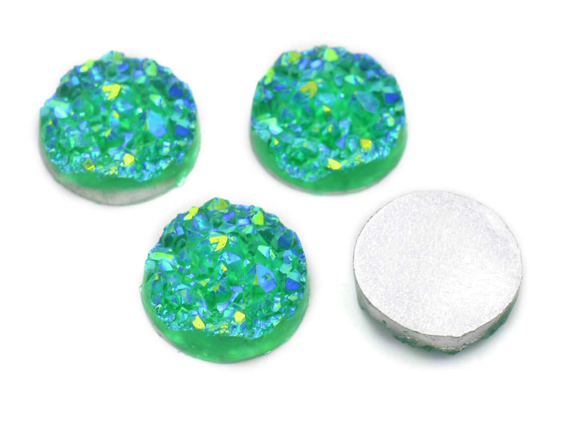 """4 Cabochons /""""Eiskristalle/"""" in gold-rosa 12 mm"""