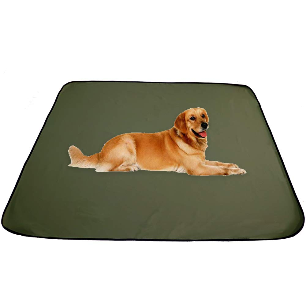 AMOFY Dog Pet Mat Fleece Waterproof and Windproof, Pet Mat for Dog Cat Indoor Outdoor, Solid Dog Mat Both Sides 50''X60'' Army Green by AMOFY