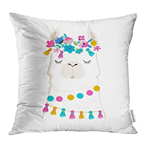 Emvency Decorative Throw Pillow Case Cushion Cover Colorful Cactus Llama Cute and Design for Nursery Birthday Pink Alpaca Baby Bohemian 20x20 Inch Cases Square Pillowcases Covers Two Sides Print