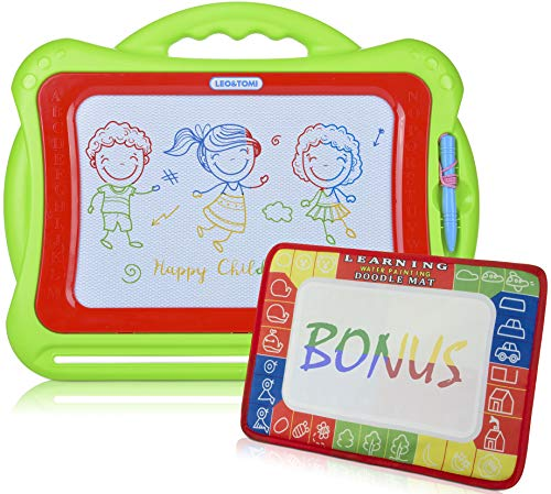 Large Magnetic Drawing Board for Kids & Toddlers | Colorful Set, Big Sketching Pad + Small Magic Aqua Mat, for Learning & Writing | Erasable Toy, Mix of Fun & Learning