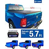 Tyger Auto TG-BC2D2064 RoLock Low Profile Roll-Up Truck Bed Tonneau Cover 2009-2018 Dodge Ram 1500 | Fleetside 5.8' Bed | For models without Ram Box