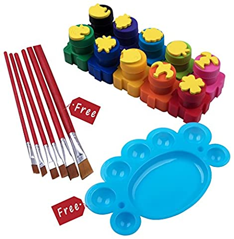 Derun Washable Kid's Finger Paint Set with Stamps and 6 Free Paint Brushes and Pallet (10 Count) (Toddler Non Toxic Paint)