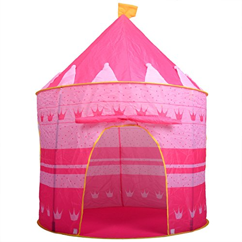 Unbranded Portable Pink Folding Play Tent Kids Girl Princess