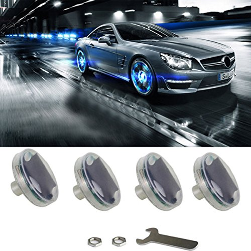 Car Tire Wheel Lights,4pcs Solar Car Wheel Tire Air Valve Cap Light with Motion Sensors Colorful LED Tire Light Gas Nozzle Cap Motion Sensors for Car Motorcycles Bicycles (Flashing Flash Wheel Lights For All Cars)