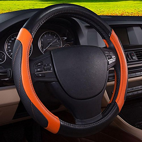 Kevin Car Steering Wheel Cover,For Car Buick / Volkswagen / Sunny / Hideo Seasons Universal Car Handlebar Sets , black and orange by Kevin