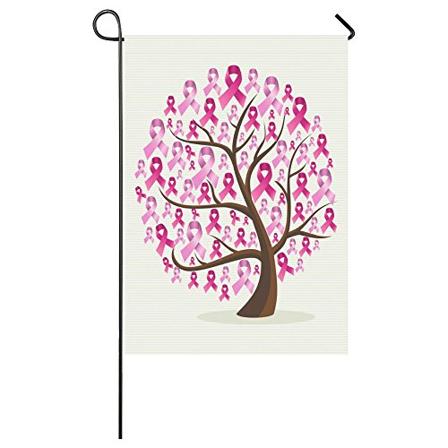 Breast Cancer Awareness Pink Ribbons Outdoor Summer Holiday Welcome Home Garden House Flag Fabric 28 x 40 - By Race Size Breast