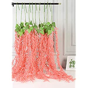AlphaAcc Artificial Love Lies Bleeding Flower Vine Hanging Garland Silk Green Leaves Wedding Home Garden Party Floral Decor,Pack of 2 120