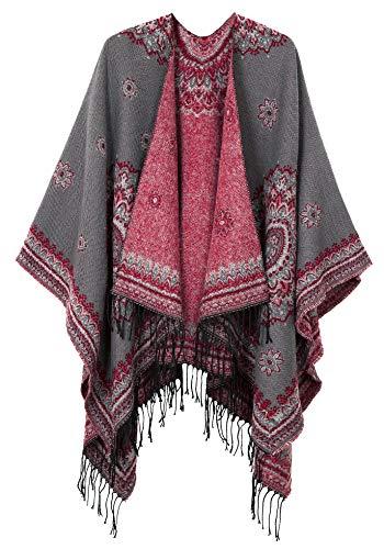 (Women's Fashionable Retro Style Vintage Pattern Tassel Poncho Shawl Cape (Series 3-gray))