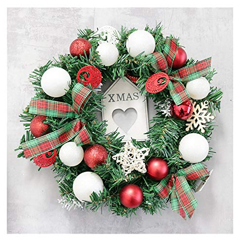 Promisen Christmas Wreath,30-35cm Festival Garland with Bowknot,Red Ball,for Christmas Holiday Wedding Home Farmhouse Indoor Outdoor -