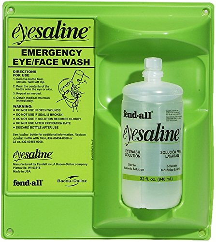 - New Pig PLS1497 - Fendall Eyesaline Single Eyewash Station - 32 oz
