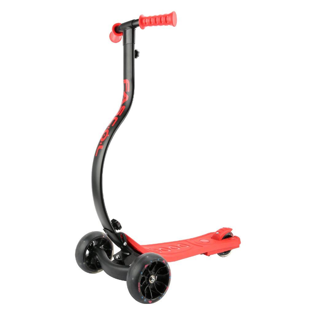 Fascol Patinete Scooter Plegable de 3 Luminosas Ruedas Grandes(13.5cm de Rueda) para 4 a 10 Años de Niños, MAX Carga 60 kg,Rojo