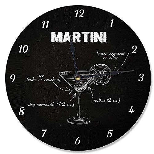 Stupell Home Décor Classic 'Martini' Instructions Vanity Clock, 12 x 0.4 x 12, Proudly Made in USA
