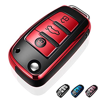 Autophone for Audi Key Fob Cover Case Premium Soft TPU 360 Degree Entire Protection Key Shell Key Case Cover Compatible with Audi A1 A3 A6 Q2 Q3 Q7 TT TTS R8 S3 S6 RS3 Smart Key-Red: Automotive