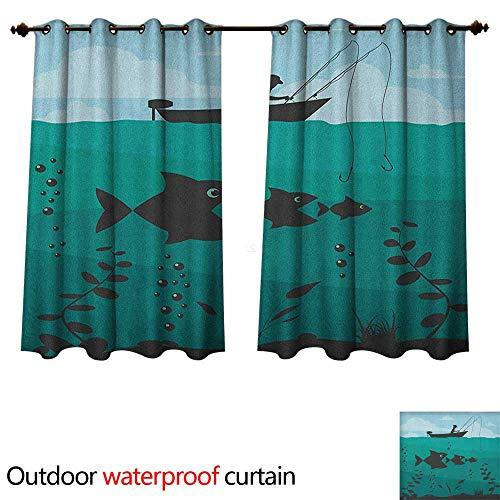 Anshesix Fishing 0utdoor Curtains for Patio Waterproof Single Man in Boat Luring with Bobbins Nautical Marine Sea Nature Funky Image Print W55 x L45(140cm x 115cm)