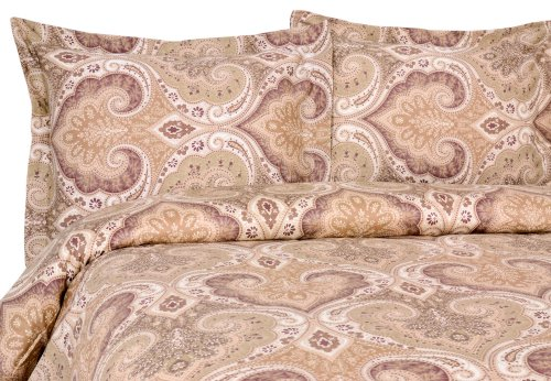 Elite Home Products Milano Paisley Collection 300 Thread Count Sateen 3-Piece Duvet/Sham Set, King, Mocha