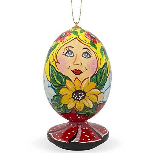 BestPysanky Russian Nesting Doll Matryoshka with Sunflower Wooden Christmas Ornament