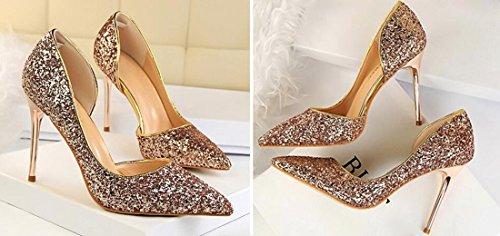 Paillettes z Chaussures Femmes Côté Creuses Talon Pointues Pointes Champagne Haut Stilettos Qiyun Pompes De xnafxg