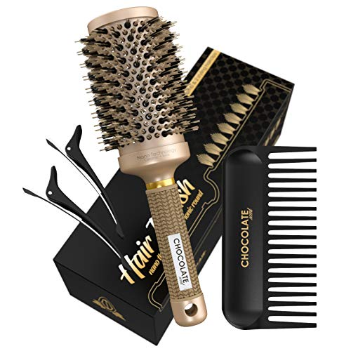 Round Hair Brush with Natural Boar Bristles for Blowouts by Chocolate Scent | 2-inch Barrel Round Brush for Blow Drying and Hairstyling |Hairbrush + Detangling Wide Tooth Comb and Hairclips