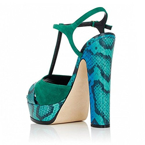 L@YC Women'S High Heels Serpentine Sandals Waterproof Table With 12cm Single Cool Shoes Green un8MJ