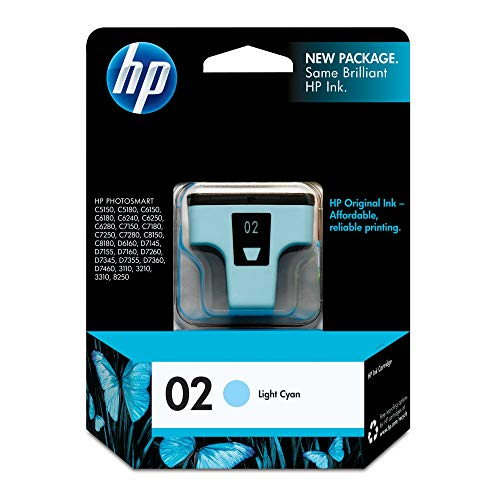 HP 02 Light Cyan Ink Cartridge (C8774WN) for HP Photosmart 3210 3310 C5180 D7245 D7255