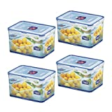 (Pack of 4) Lock & Lock Airtight Rectangular Tall Food Storage Container 152.16-oz / 19.02-cup