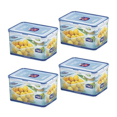 Pack of 4 Lock Lock Airtight Rectangular Tall Food Storage