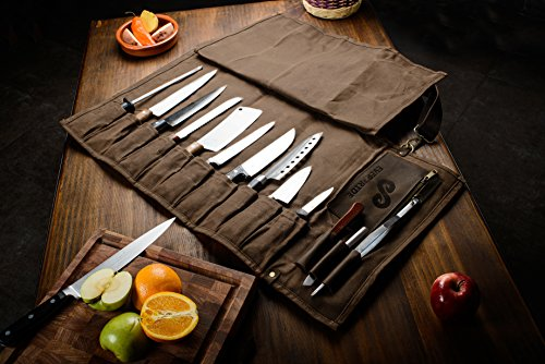 Chef Knife Roll Bag (13 Slots) | Stores 10 Knives, 3 Kitchen Utensils PLUS a Zipper | Durable Waxed Canvas Knife Carrier | Easily Carried by Shoulder Strap For Professional Chefs | Knives Not Included by EVERPRIDE (Image #2)