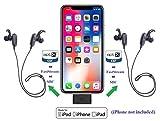 KOKKIA i10L_Pro_plus_2MarathonS: DIGITAL i10L_Pro Bluetooth Splitter Transmitter for iPhone,iPad,iPod Touch with Lightning Connector PLUS 2 Tiny MarathonS FastStream/aptX/SBC Bluetooth Stereo Headsets