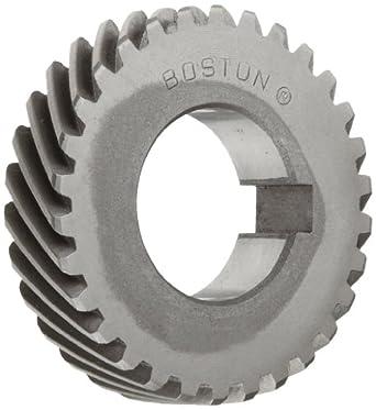 Boston Gear H2030R Plain Helical Gear, 45 Degree Helix, 14.5 Degree Pressure Angle, 0.750 Bore, 20 Pitch, 30 Teeth, Steel, RH