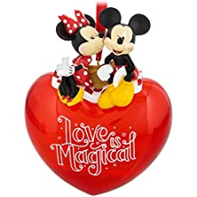 Disney Parks Mickey and Minnie Love is Magical Red Heart Ornament