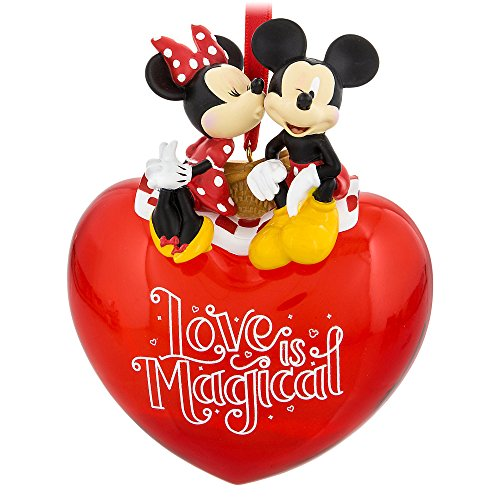 Disney Parks Mickey and Minnie Love is Magical Red Heart Ornament -