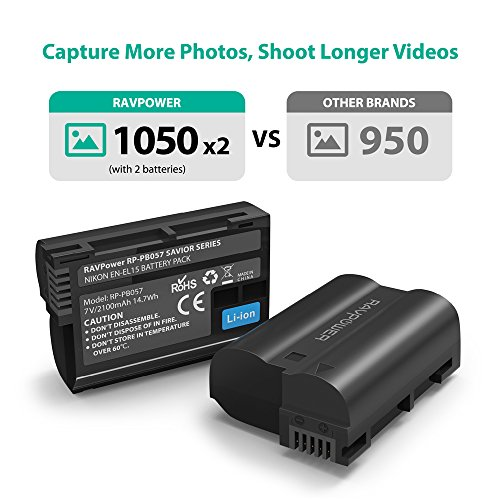 EN EL15 EN-EL15A RAVPower Battery Charger Set for Nikon d750, d7500, d850, d800 and More (2-Pack, Micro USB Input Charger, Versatile Charging Option, 2100mAh, 100% Compatible with Original)
