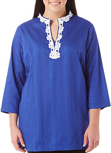 Caribbean Joe Women's Plus Size Leno Shirting Tunic with Lace Trim Embroidery, Deep Dive, 3X