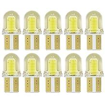 Safgo 10x T10 LED Bulbs W5W COB 1.5W 16 Luminous Spot License Interior Wedge Side Light White 194 168