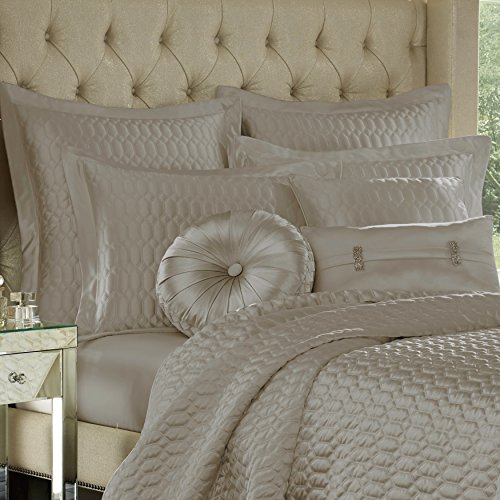 Five Queens Court Saranda Satin Geometric Quilted Coverlet Full/Queen, Silver by Five Queens Court (Image #1)