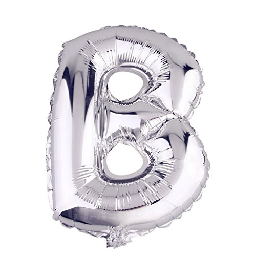 Glanzzeit 16 Inch Silver Foil Balloons Letters A to Z Numbers 0 to 9 for Prom Wedding Birthday Party Decor (Letter B)]()