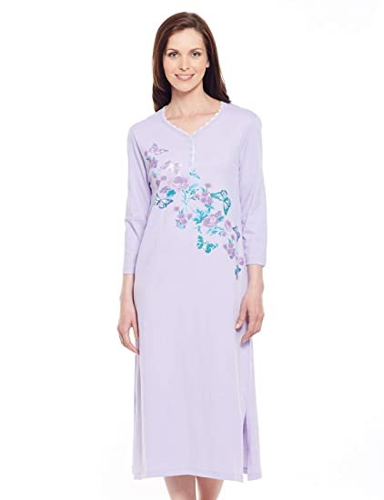 3210ebab19 Ladies Womens Pack of 2 Cotton Print Nightdress Lavender & Aqua 10: Amazon. co.uk: Clothing