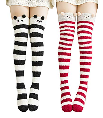 OxsOy Womens Cute Cartoon Fuzzy Socks Over Knee Thigh High Stockings Winter Warm Stripe Leg Warmers (Red/Black)